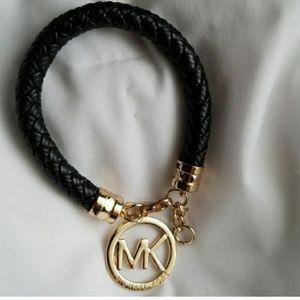 Michael Kors Black Leather Braided Rope Bracelet